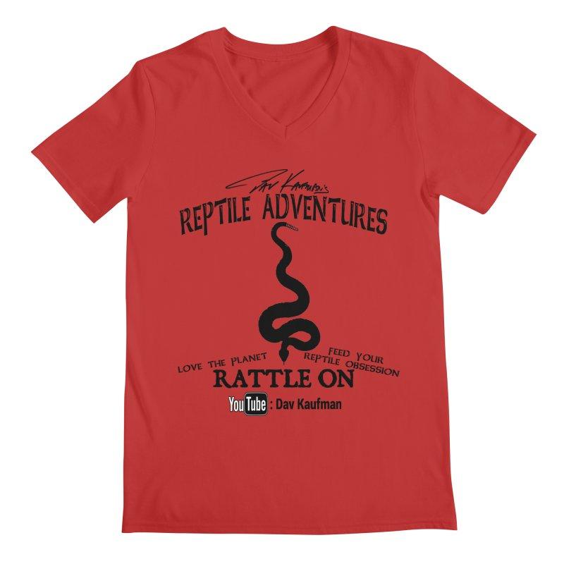 Dāv Kaufman's Reptile Adventures official logo (alt design) in black Men's Regular V-Neck by Dav Kaufman's Swag Shop!