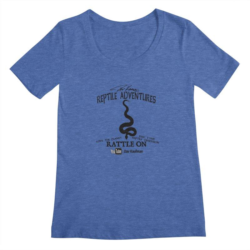 Dāv Kaufman's Reptile Adventures official logo (alt design) in black Women's Scoopneck by Dav Kaufman's Swag Shop!
