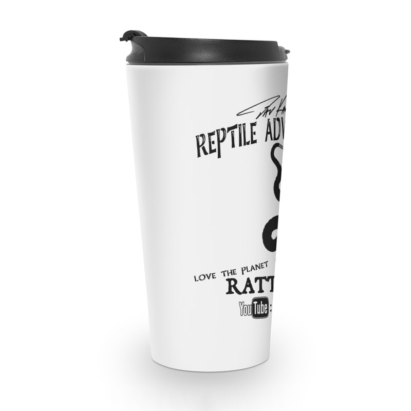 Dāv Kaufman's Reptile Adventures official logo (alt design) in black Accessories Travel Mug by Dav Kaufman's Swag Shop!