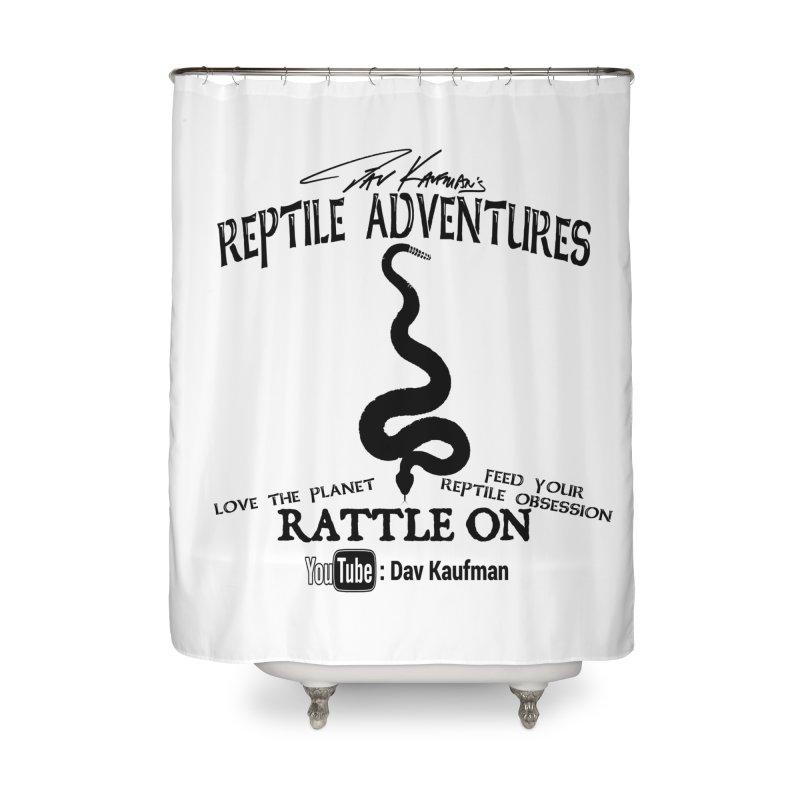 Dāv Kaufman's Reptile Adventures official logo (alt design) in black Home Shower Curtain by Dav Kaufman's Swag Shop!
