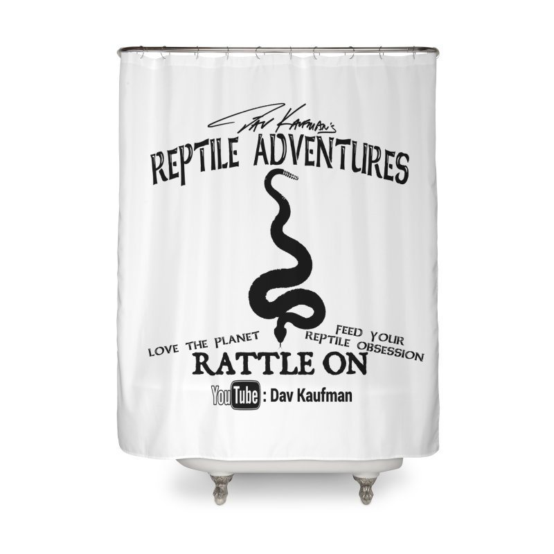 Dāv Kaufman's Reptile Adventures official logo (alt design) in black Home Shower Curtain by Dav Kaufman's Swag Shop!