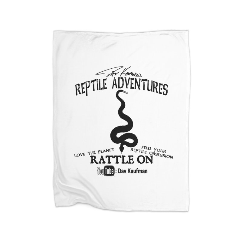 Dāv Kaufman's Reptile Adventures official logo (alt design) in black Home Fleece Blanket Blanket by Dav Kaufman's Swag Shop!