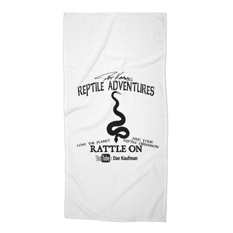 Dāv Kaufman's Reptile Adventures official logo (alt design) in black Accessories Beach Towel by Dav Kaufman's Swag Shop!