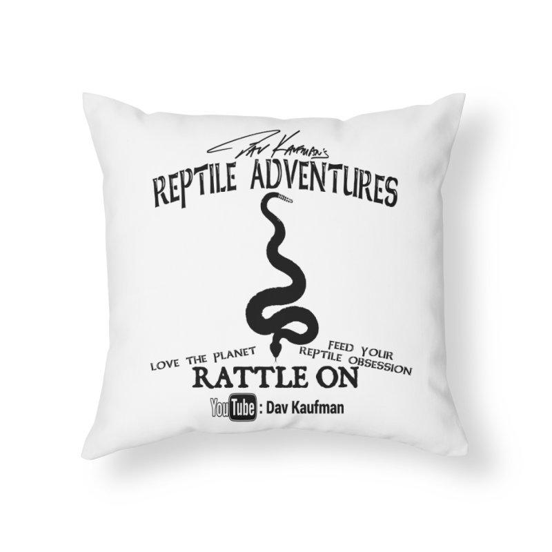 Dāv Kaufman's Reptile Adventures official logo (alt design) in black Home Throw Pillow by Dav Kaufman's Swag Shop!