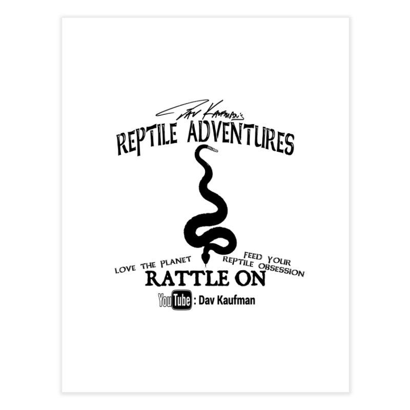 Dāv Kaufman's Reptile Adventures official logo (alt design) in black Home Fine Art Print by Dav Kaufman's Swag Shop!