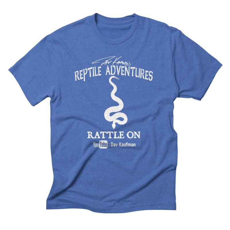 Dāv Kaufman's Reptile Adventures official logo in white Men's T-Shirt by Dav Kaufman's Swag Shop!