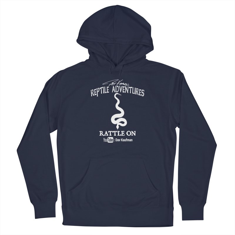 Dāv Kaufman's Reptile Adventures official logo in white Men's Pullover Hoody by Dav Kaufman's Swag Shop!