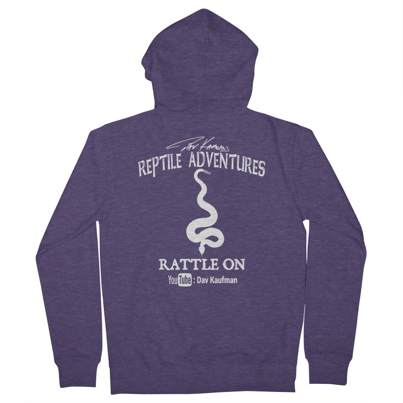 Dāv Kaufman's Reptile Adventures official logo in white Men's French Terry Zip-Up Hoody by Dav Kaufman's Swag Shop!