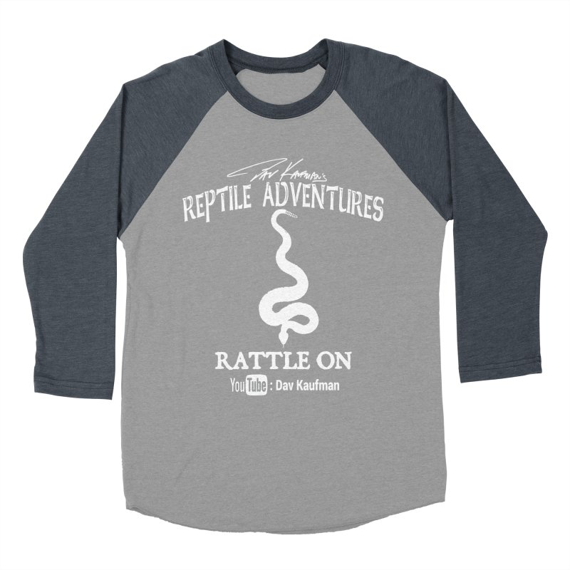 Dāv Kaufman's Reptile Adventures official logo in white Men's Baseball Triblend Longsleeve T-Shirt by Dav Kaufman's Swag Shop!