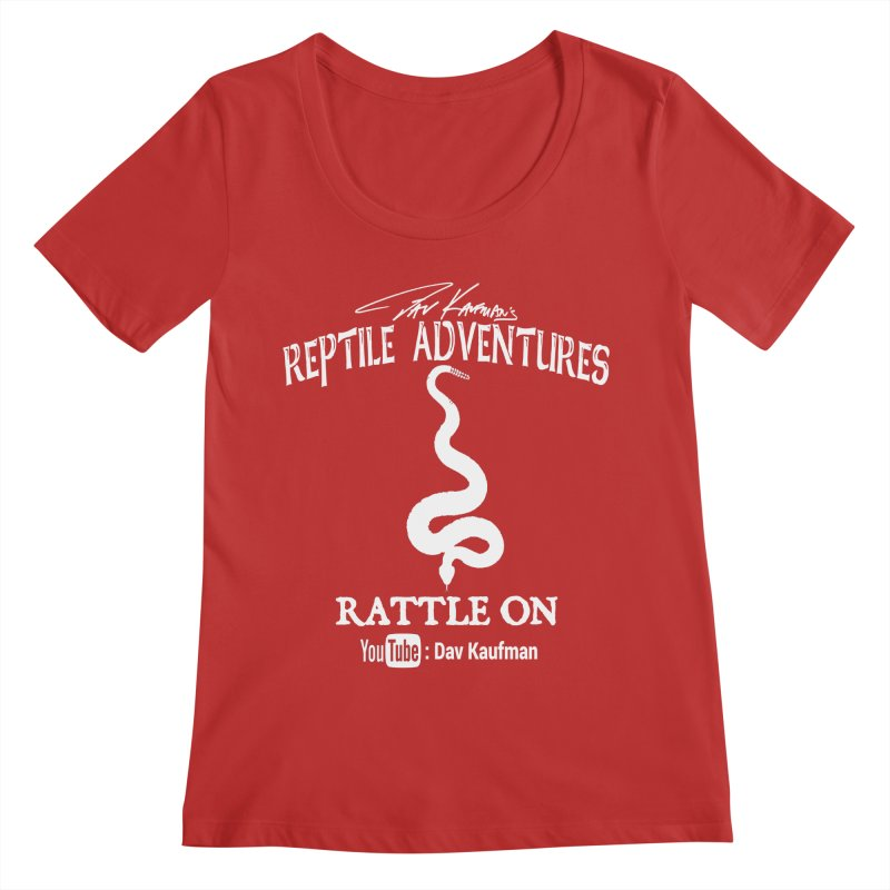 Dāv Kaufman's Reptile Adventures official logo in white Women's Regular Scoop Neck by Dav Kaufman's Swag Shop!