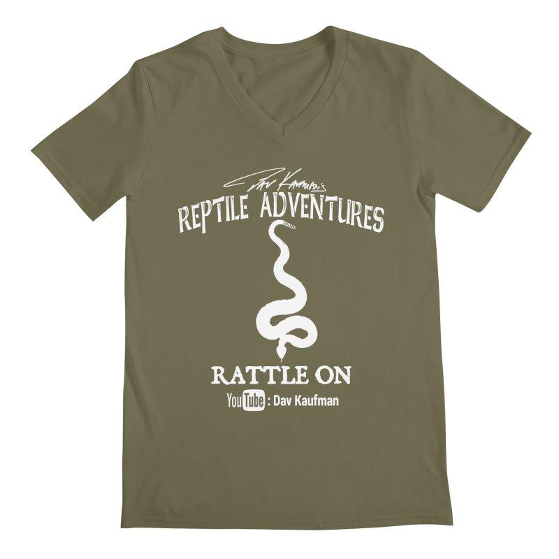 Dāv Kaufman's Reptile Adventures official logo in white Men's Regular V-Neck by Dav Kaufman's Swag Shop!
