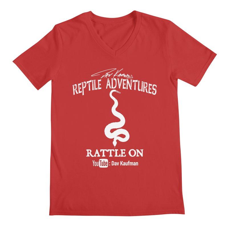 Dāv Kaufman's Reptile Adventures official logo in white Men's V-Neck by Dav Kaufman's Swag Shop!