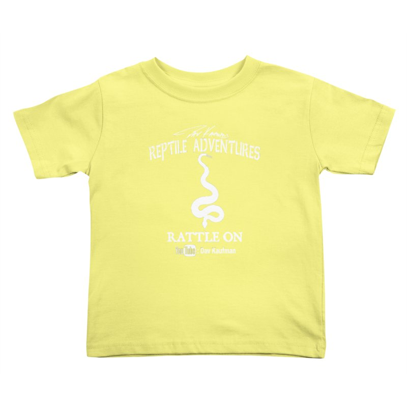 Dāv Kaufman's Reptile Adventures official logo in white Kids Toddler T-Shirt by Dav Kaufman's Swag Shop!
