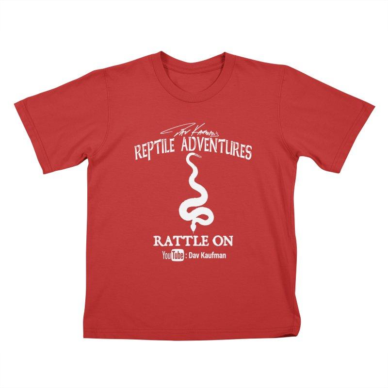 Dāv Kaufman's Reptile Adventures official logo in white Kids T-Shirt by Dav Kaufman's Swag Shop!