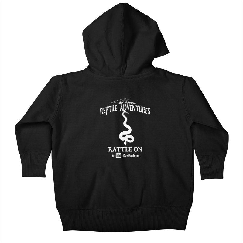 Dāv Kaufman's Reptile Adventures official logo in white Kids Baby Zip-Up Hoody by Dav Kaufman's Swag Shop!