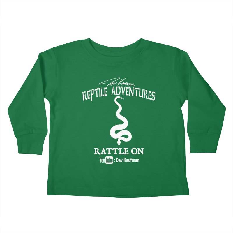 Dāv Kaufman's Reptile Adventures official logo in white Kids Toddler Longsleeve T-Shirt by Dav Kaufman's Swag Shop!
