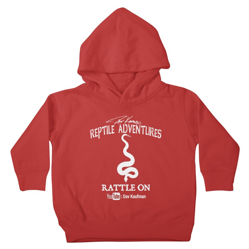 Dāv Kaufman's Reptile Adventures official logo in white Kids Toddler Pullover Hoody by Dav Kaufman's Swag Shop!