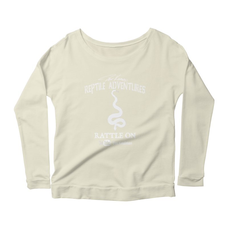 Dāv Kaufman's Reptile Adventures official logo in white Women's Scoop Neck Longsleeve T-Shirt by Dav Kaufman's Swag Shop!