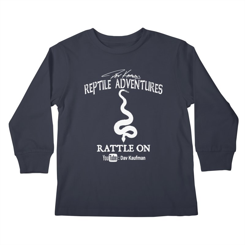 Dāv Kaufman's Reptile Adventures official logo in white Kids Longsleeve T-Shirt by Dav Kaufman's Swag Shop!