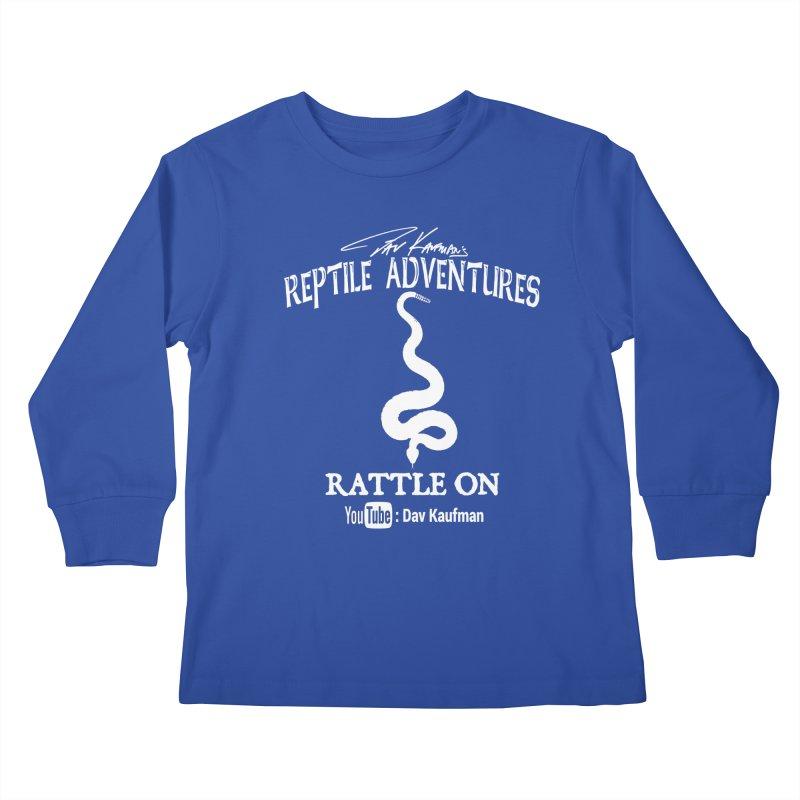 Dāv Kaufman's Reptile Adventures official logo in white Kids Longsleeve T-Shirt by Dav Kaufman's Swag Shop!