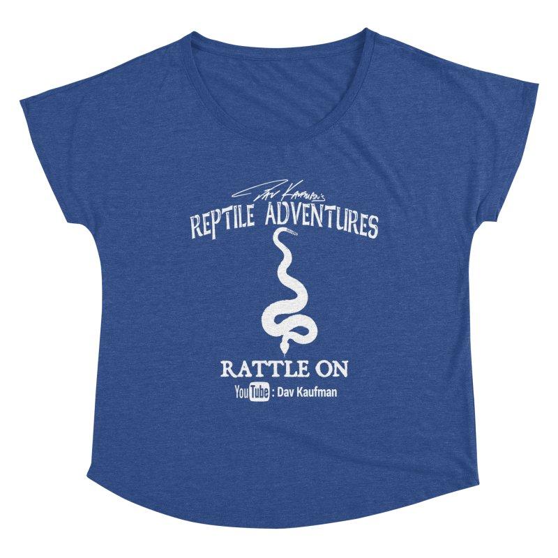 Dāv Kaufman's Reptile Adventures official logo in white Women's Scoop Neck by Dav Kaufman's Swag Shop!