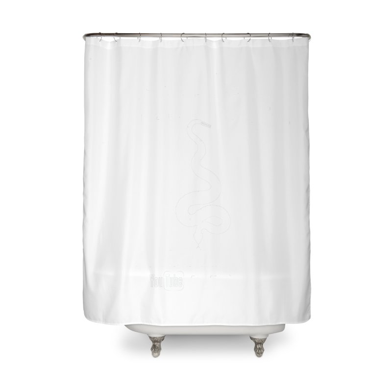 Dāv Kaufman's Reptile Adventures official logo in white Home Shower Curtain by Dav Kaufman's Swag Shop!