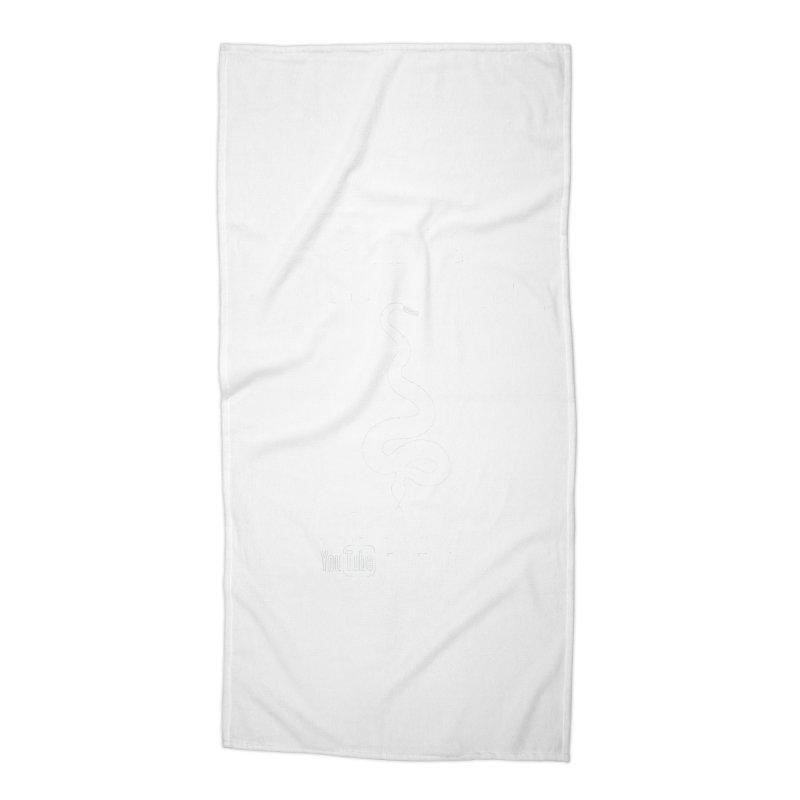 Dāv Kaufman's Reptile Adventures official logo in white Accessories Beach Towel by Dav Kaufman's Swag Shop!