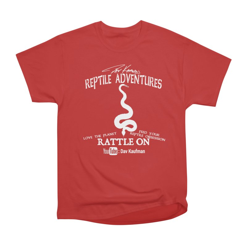 Dāv Kaufman's Reptile Adventures official (alt design) logo in white Men's Heavyweight T-Shirt by Dav Kaufman's Swag Shop!