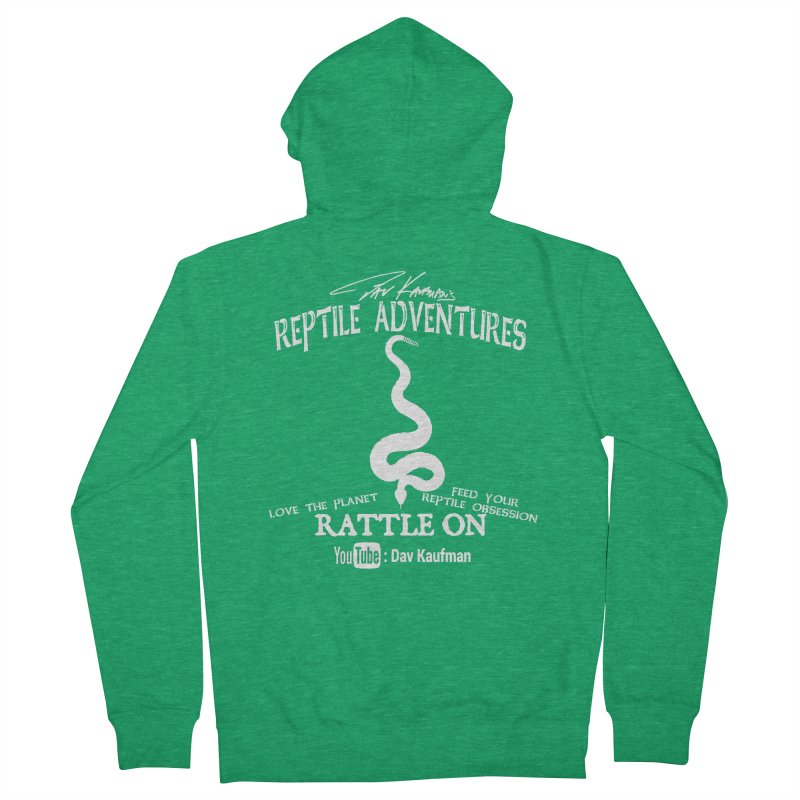 Dāv Kaufman's Reptile Adventures official (alt design) logo in white Women's Zip-Up Hoody by Dav Kaufman's Swag Shop!