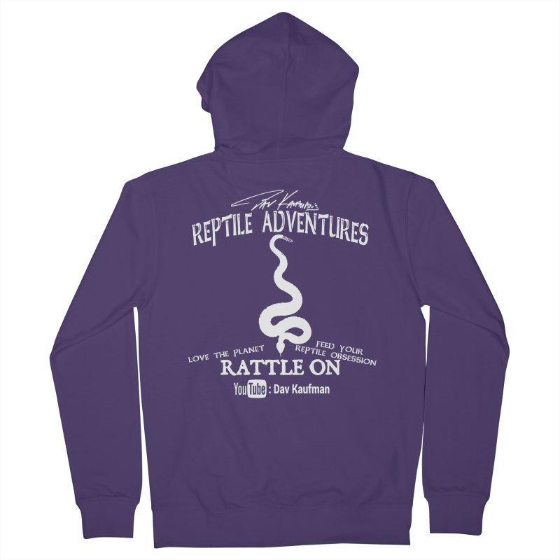 Dāv Kaufman's Reptile Adventures official (alt design) logo in white Women's French Terry Zip-Up Hoody by Dav Kaufman's Swag Shop!