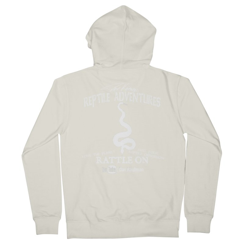 Dāv Kaufman's Reptile Adventures official (alt design) logo in white Men's French Terry Zip-Up Hoody by Dav Kaufman's Swag Shop!