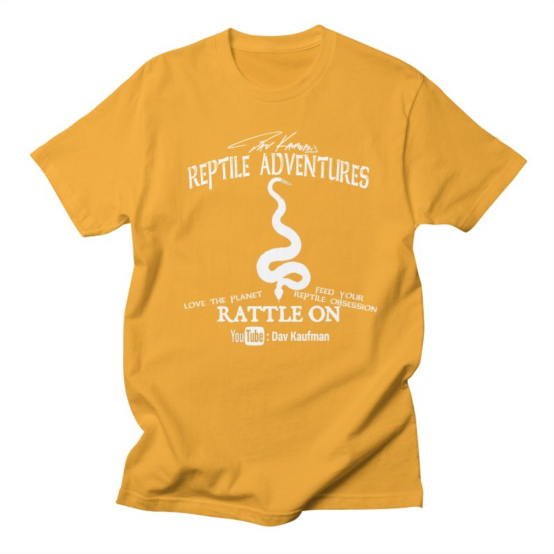Dāv Kaufman's Reptile Adventures official (alt design) logo in white Men's T-Shirt by Dav Kaufman's Swag Shop!