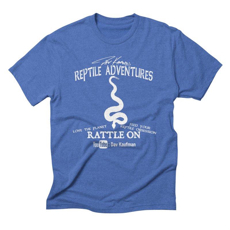 Dāv Kaufman's Reptile Adventures official (alt design) logo in white Men's Triblend T-Shirt by Dav Kaufman's Swag Shop!
