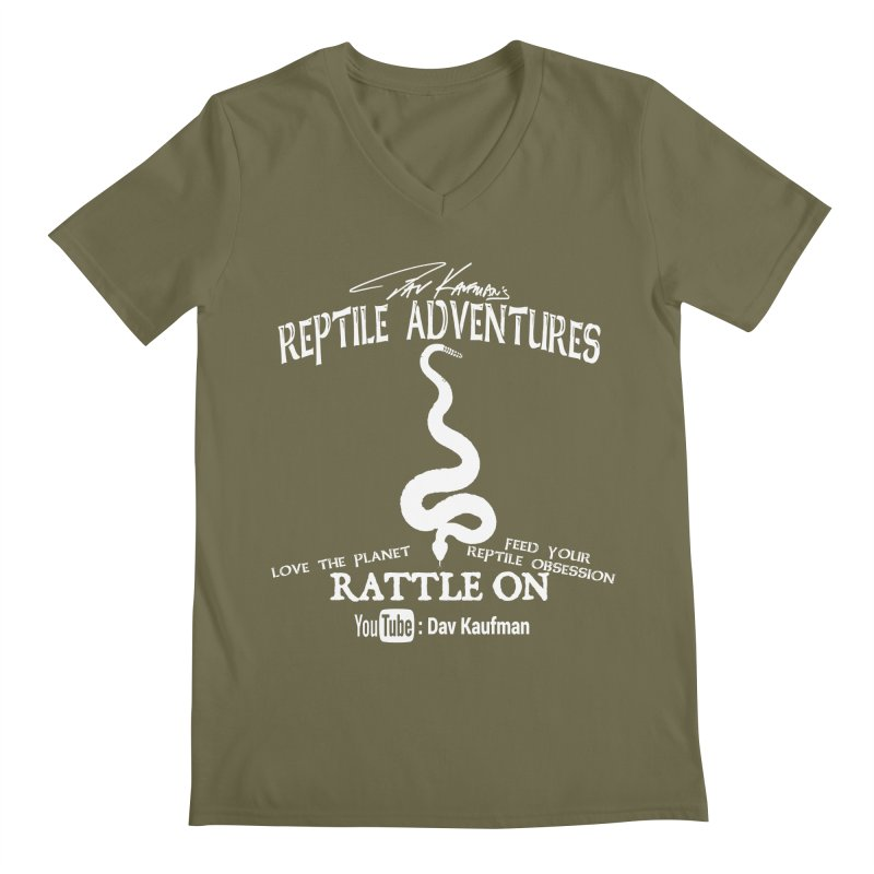 Dāv Kaufman's Reptile Adventures official (alt design) logo in white Men's Regular V-Neck by Dav Kaufman's Swag Shop!