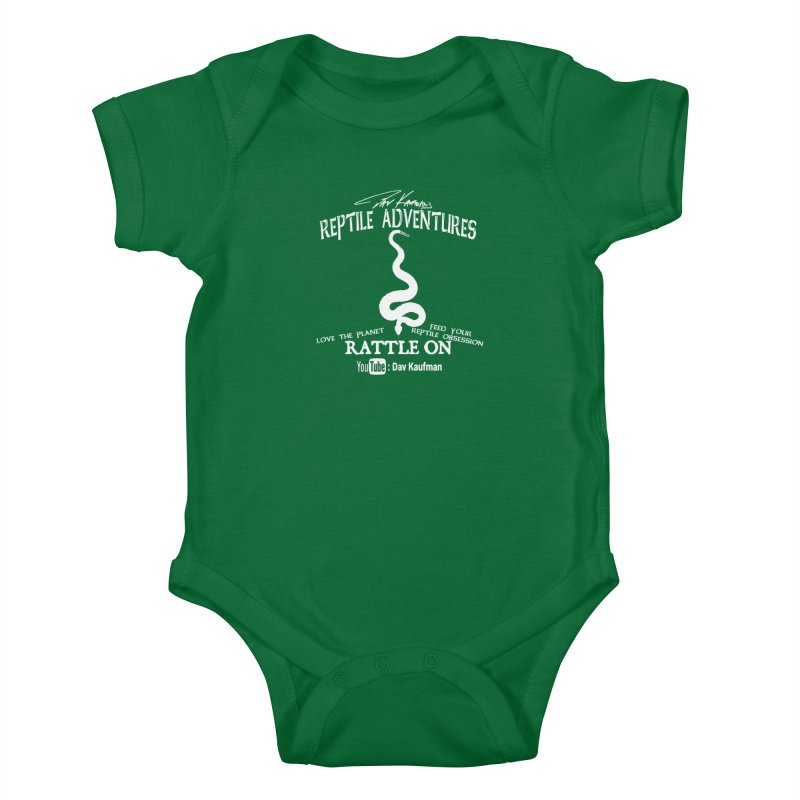 Dāv Kaufman's Reptile Adventures official (alt design) logo in white Kids Baby Bodysuit by Dav Kaufman's Swag Shop!