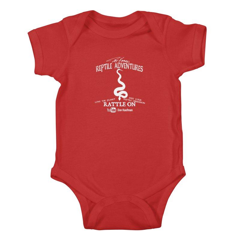 Dāv Kaufman's Reptile Adventures official (alt design) logo in white Kids Baby Bodysuit by Dav Kaufman's Swag Shop!