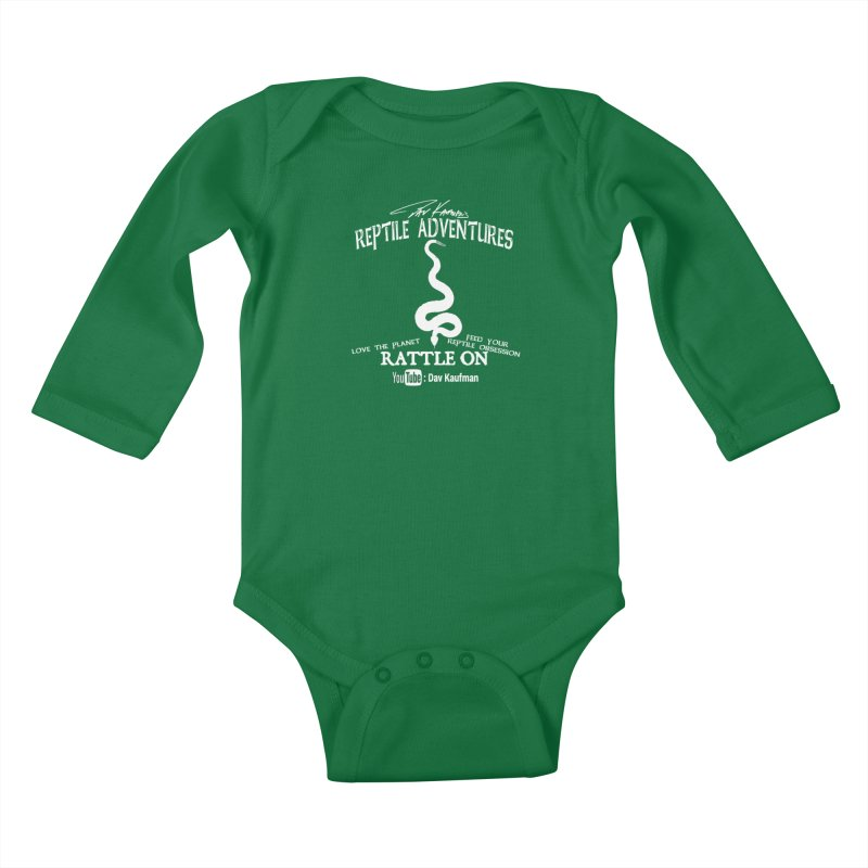 Dāv Kaufman's Reptile Adventures official (alt design) logo in white Kids Baby Longsleeve Bodysuit by Dav Kaufman's Swag Shop!