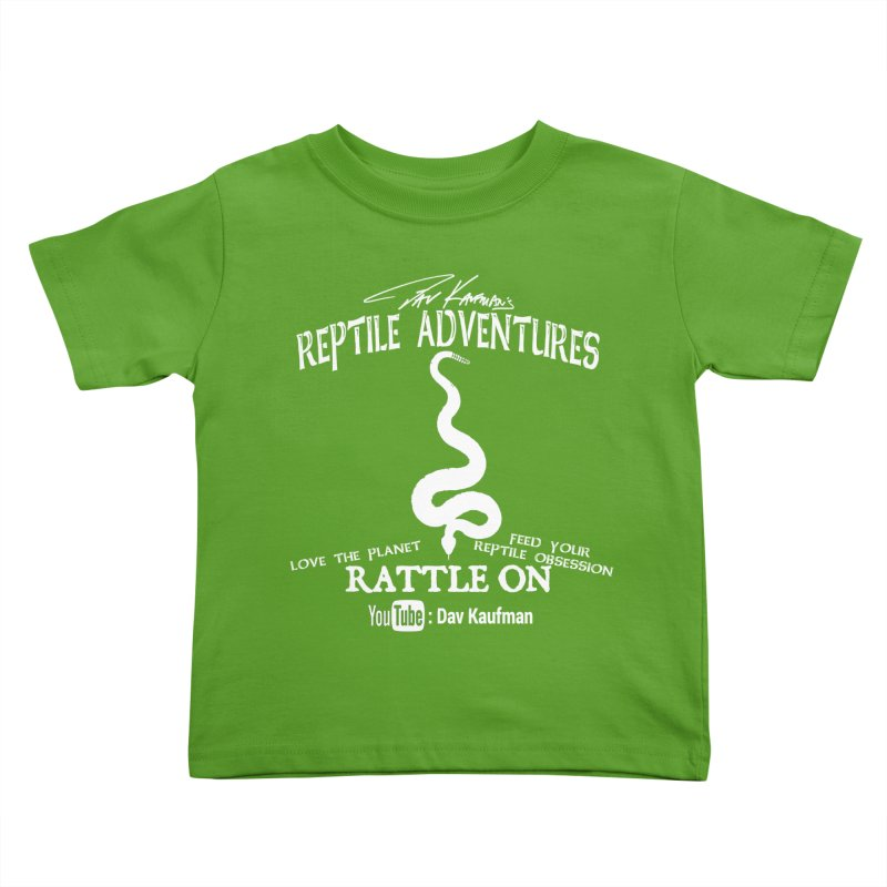 Dāv Kaufman's Reptile Adventures official (alt design) logo in white Kids Toddler T-Shirt by Dav Kaufman's Swag Shop!