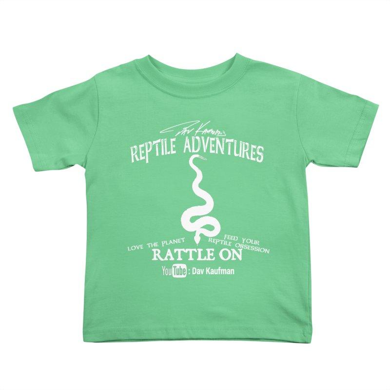 Dāv Kaufman's Reptile Adventures official (alt design) logo in white Kids Toddler T-Shirt by Dav Kaufman's Swag Shop!