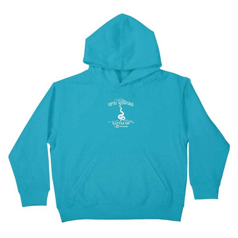 Dāv Kaufman's Reptile Adventures official (alt design) logo in white Kids Pullover Hoody by Dav Kaufman's Swag Shop!