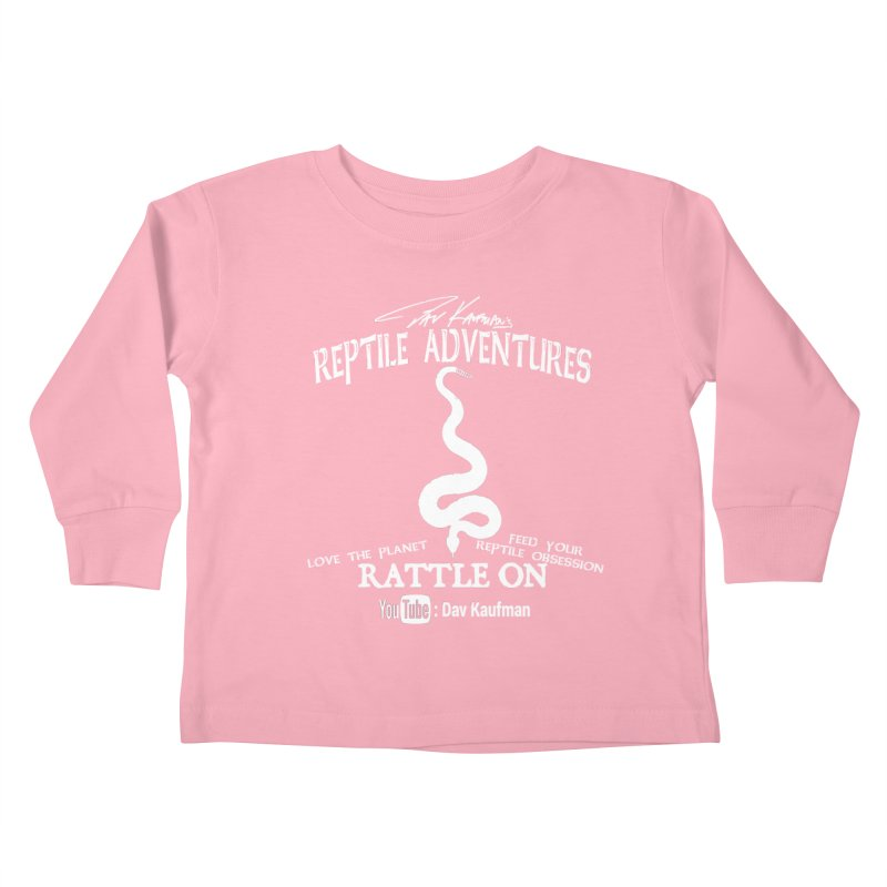 Dāv Kaufman's Reptile Adventures official (alt design) logo in white Kids Toddler Longsleeve T-Shirt by Dav Kaufman's Swag Shop!