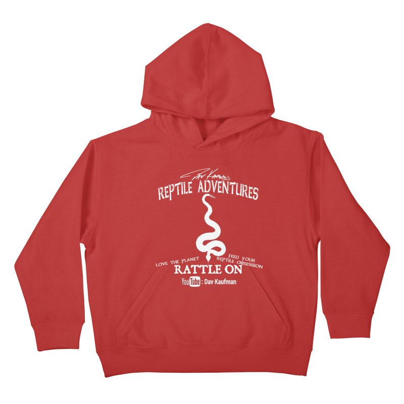 Dāv Kaufman's Reptile Adventures official (alt design) logo in white Kids Pullover Hoody by Dav Kaufman's Swag Shop!