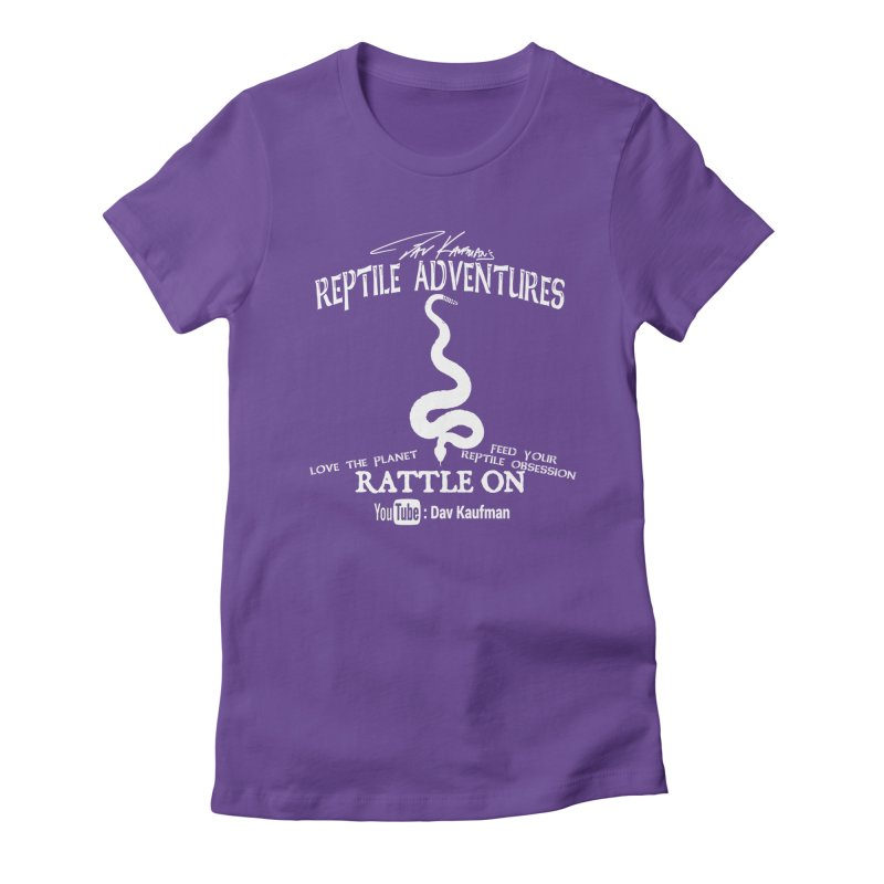 Dāv Kaufman's Reptile Adventures official (alt design) logo in white Women's Fitted T-Shirt by Dav Kaufman's Swag Shop!