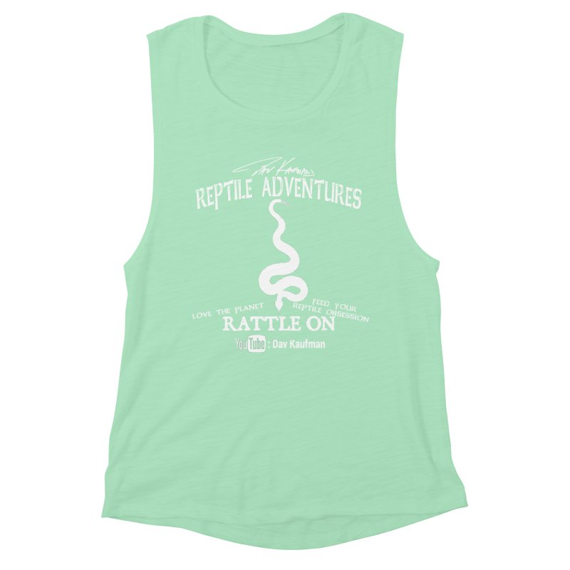 Dāv Kaufman's Reptile Adventures official (alt design) logo in white Women's Muscle Tank by Dav Kaufman's Swag Shop!