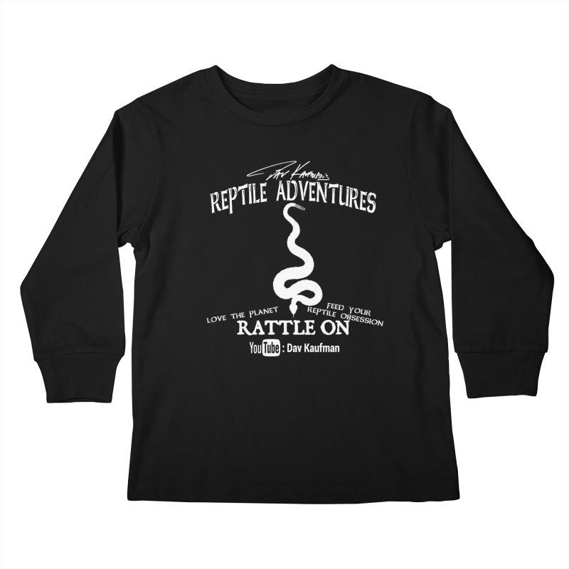 Dāv Kaufman's Reptile Adventures official (alt design) logo in white Kids Longsleeve T-Shirt by Dav Kaufman's Swag Shop!