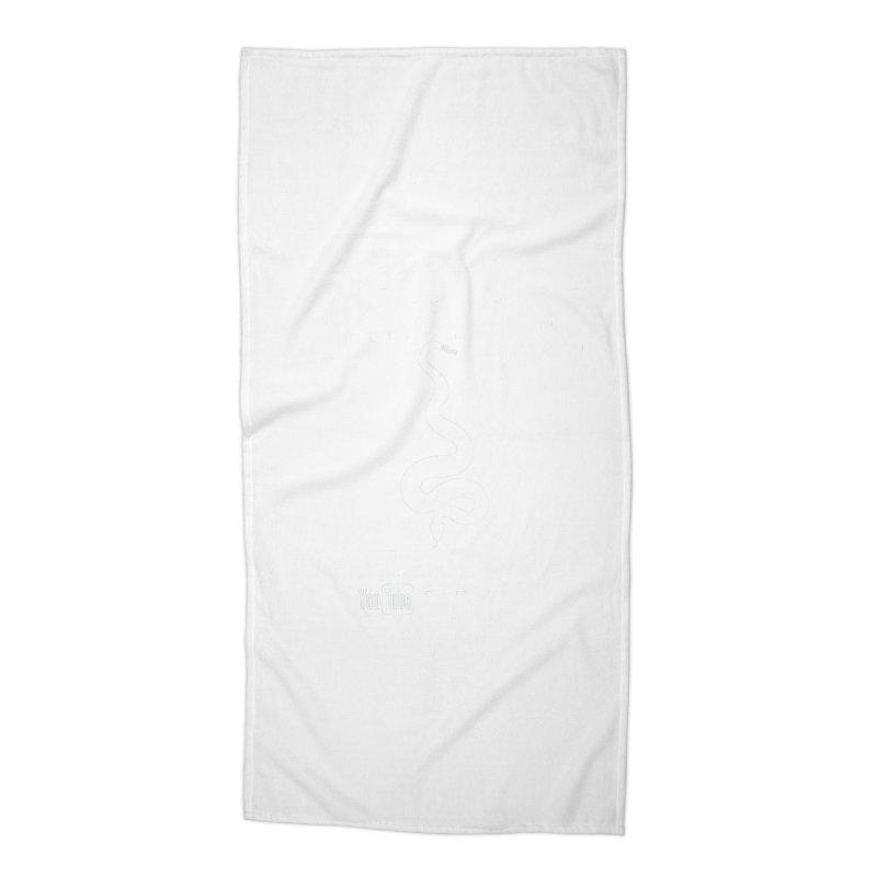 Dāv Kaufman's Reptile Adventures official (alt design) logo in white Accessories Beach Towel by Dav Kaufman's Swag Shop!