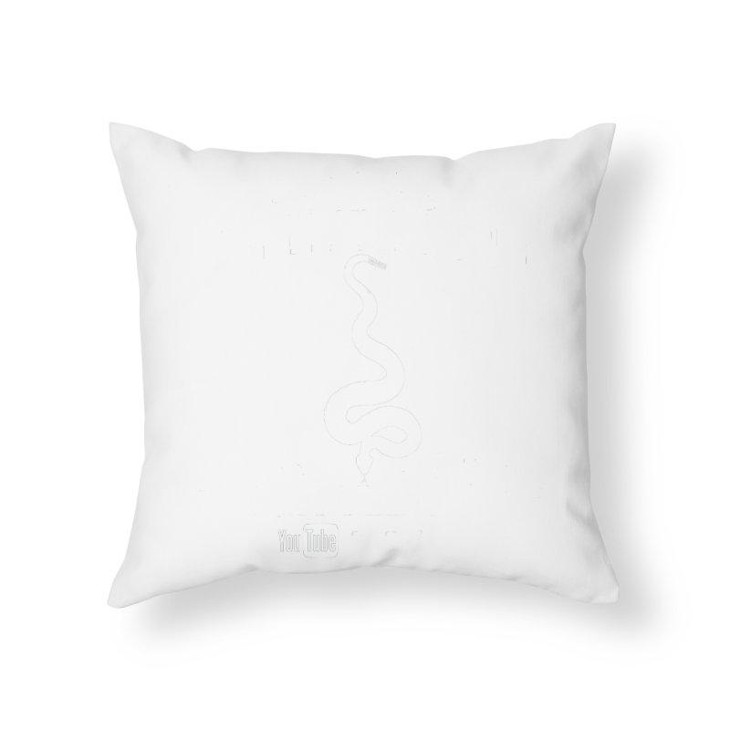 Dāv Kaufman's Reptile Adventures official (alt design) logo in white Home Throw Pillow by Dav Kaufman's Swag Shop!