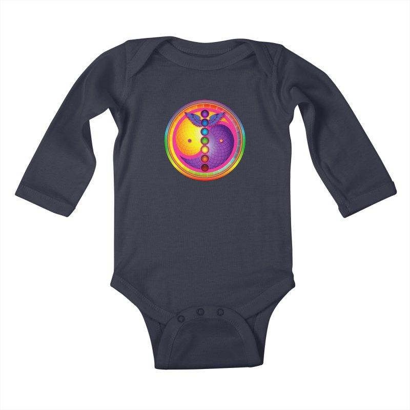 Colorful Chakra Mandala Kids Baby Longsleeve Bodysuit by DB Stevens' Shop