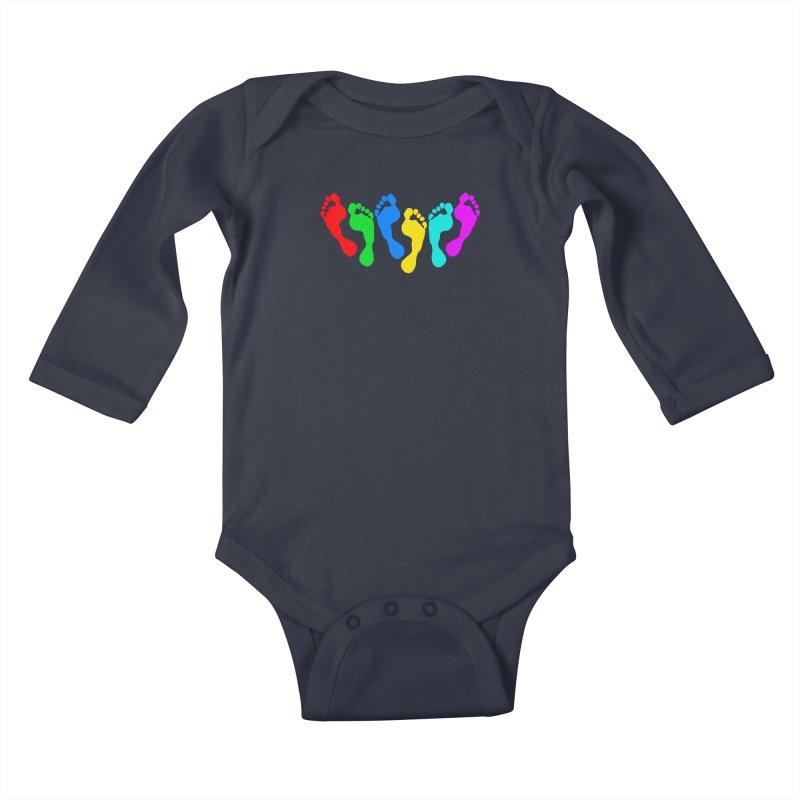 6 FEET Social Distancing Reminder on White Kids Baby Longsleeve Bodysuit by DB Stevens' Shop