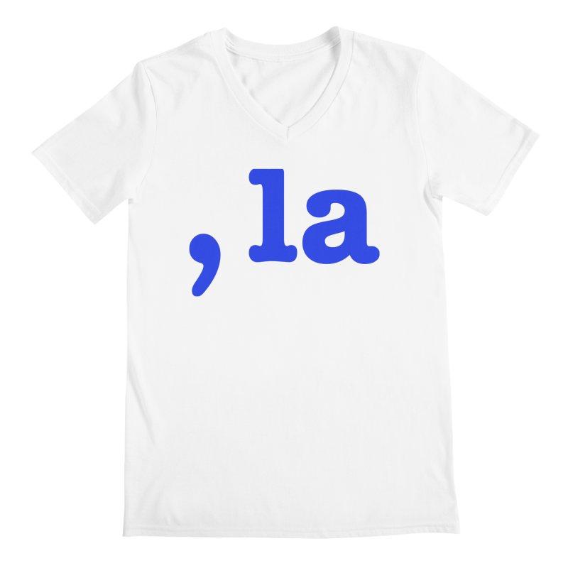Comma la - Get it?  Visual Pun in blue Men's V-Neck by DB Stevens' Shop